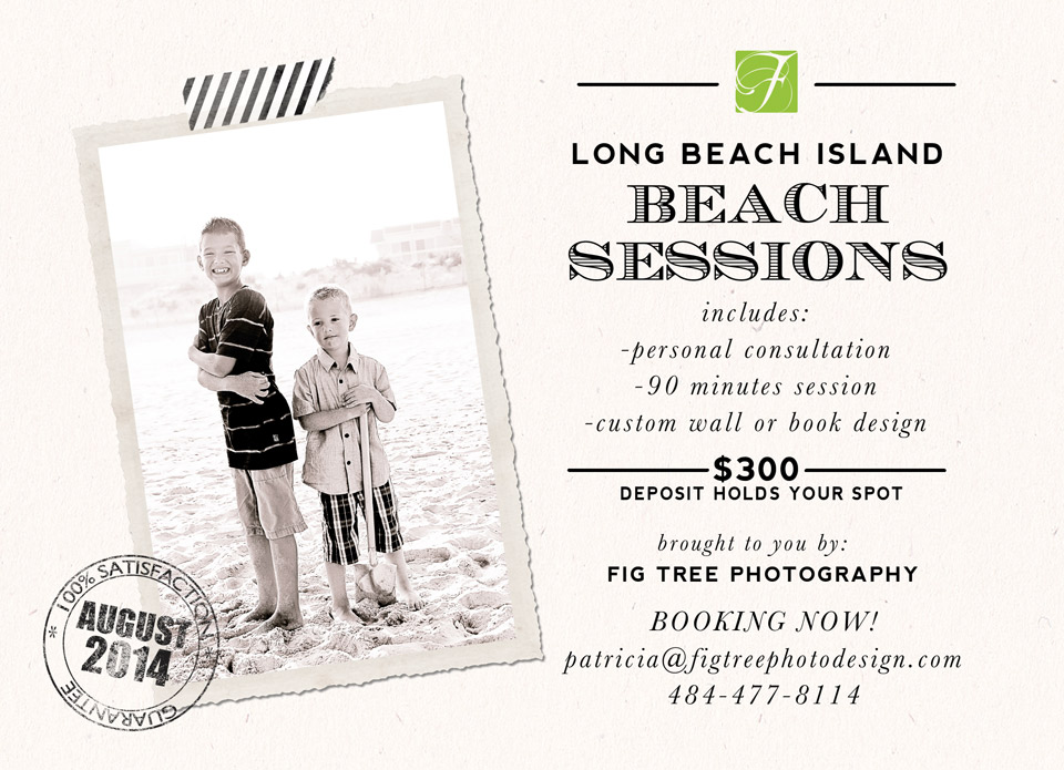 Beach sessions - booking now. Call 484-477-8114 or email patricia@figtreeportraits.com